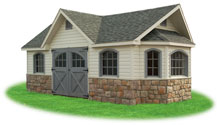 custom victorian vinyl storage shed with stone at base, carriage house doors, extra dormer, arch top windows, vents, and custom build out gable end
